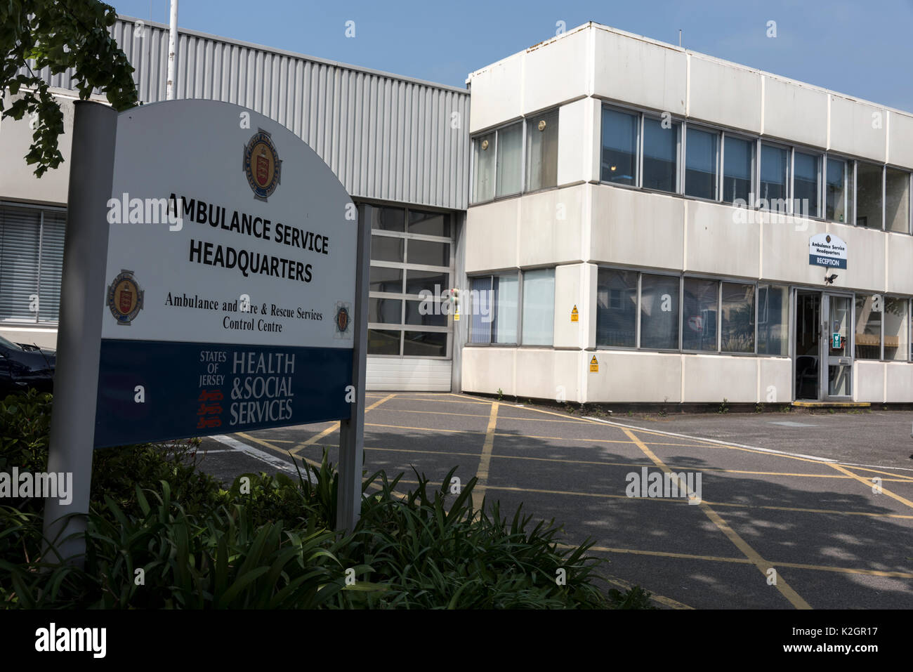 Service HQ at St. Helier in Jersey in the Channel islands, Britain - Stock Image