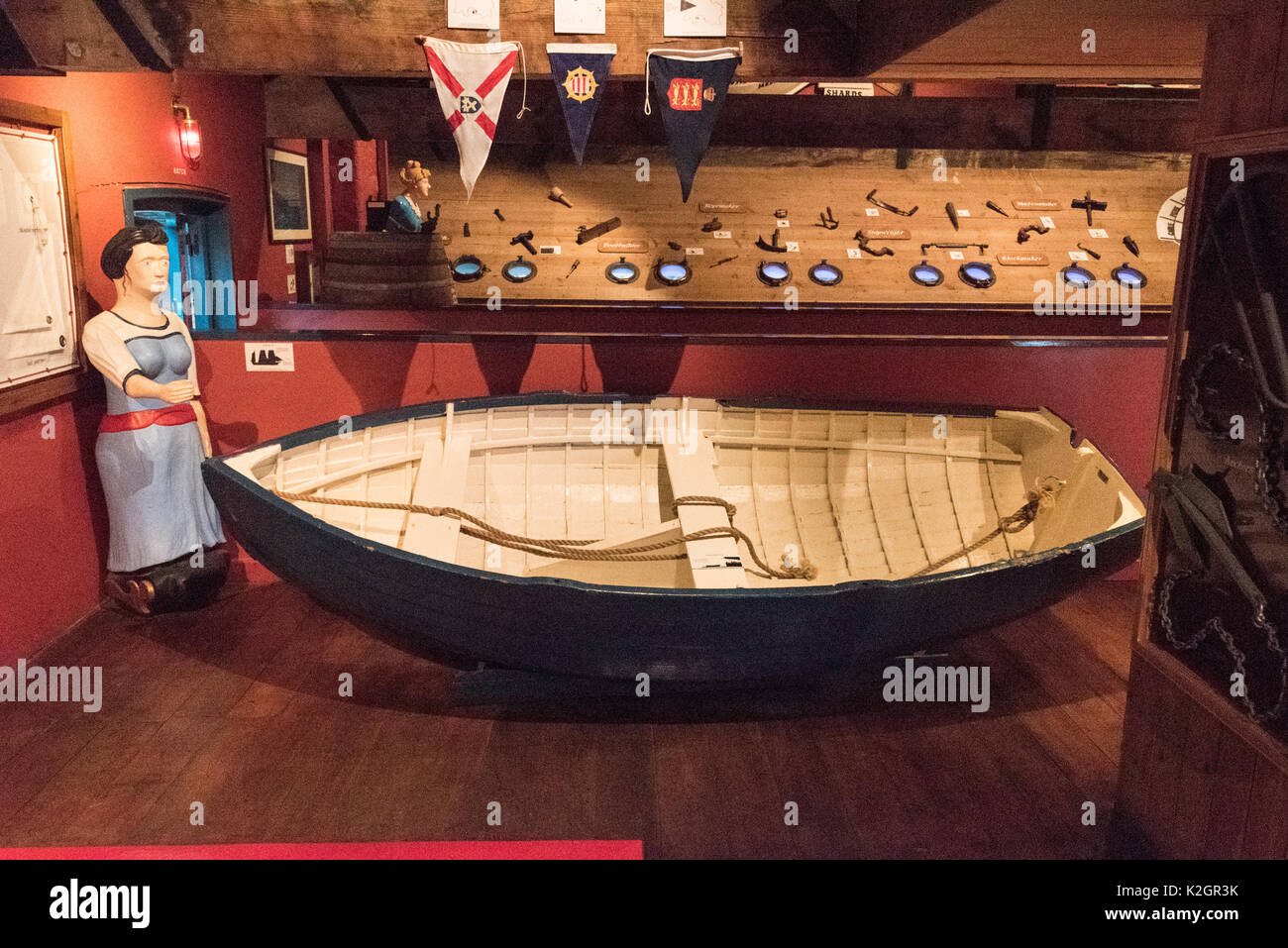 Exhibits on display of Jersey's seafaring at the Maritime Museum and Occupation Tapestry Gallery on the harbour - Stock Image
