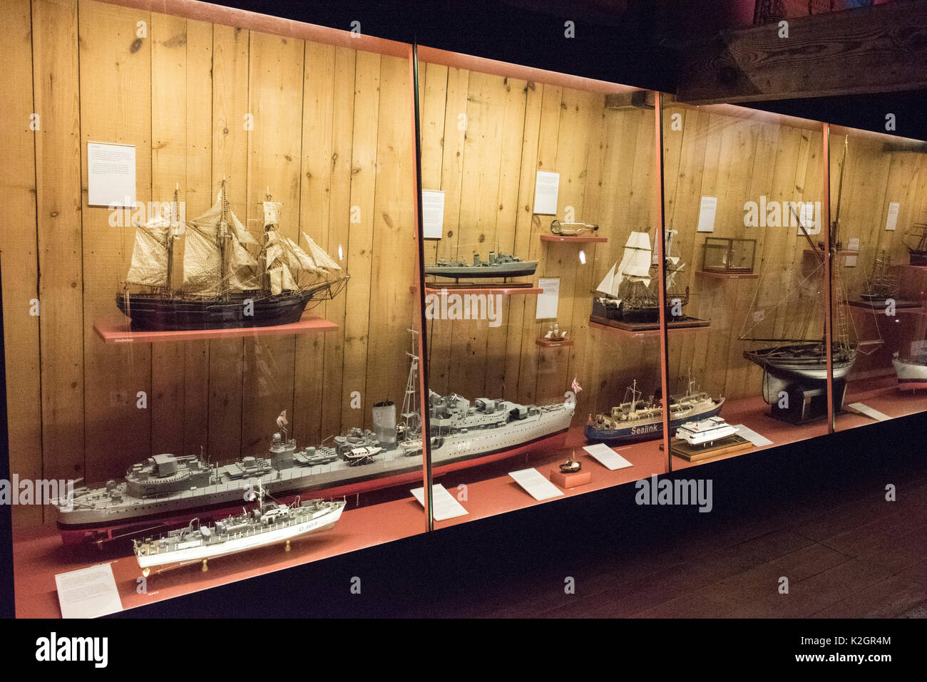 Exhibits on display of Jersey's seafaring at the Maritime Museum and Occupation Tapestry Gallery on the harbour at  St. Helier,Jersey in the Channel I - Stock Image