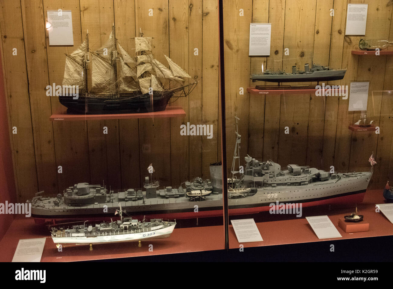 Exhibits on display of Jersey's seafaring at the Maritime Museum and Occupation Tapestry Gallery on the harbour at  St. Helier, Jersey in the Channel  - Stock Image