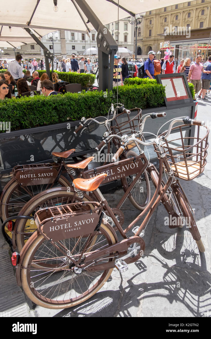 Bicycles outside the Savoy Hotel, Florence, Italy - Stock Image
