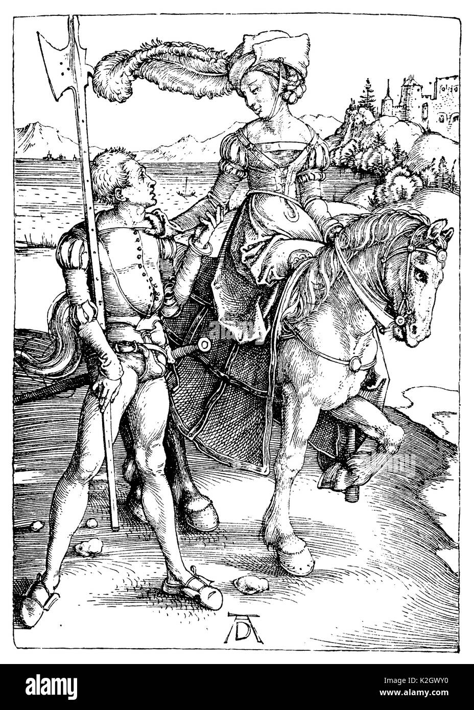Aristocratic lady on horseback, accompanied by an armed servant. After a copper engraving by Albrecht Dürer - Stock Image