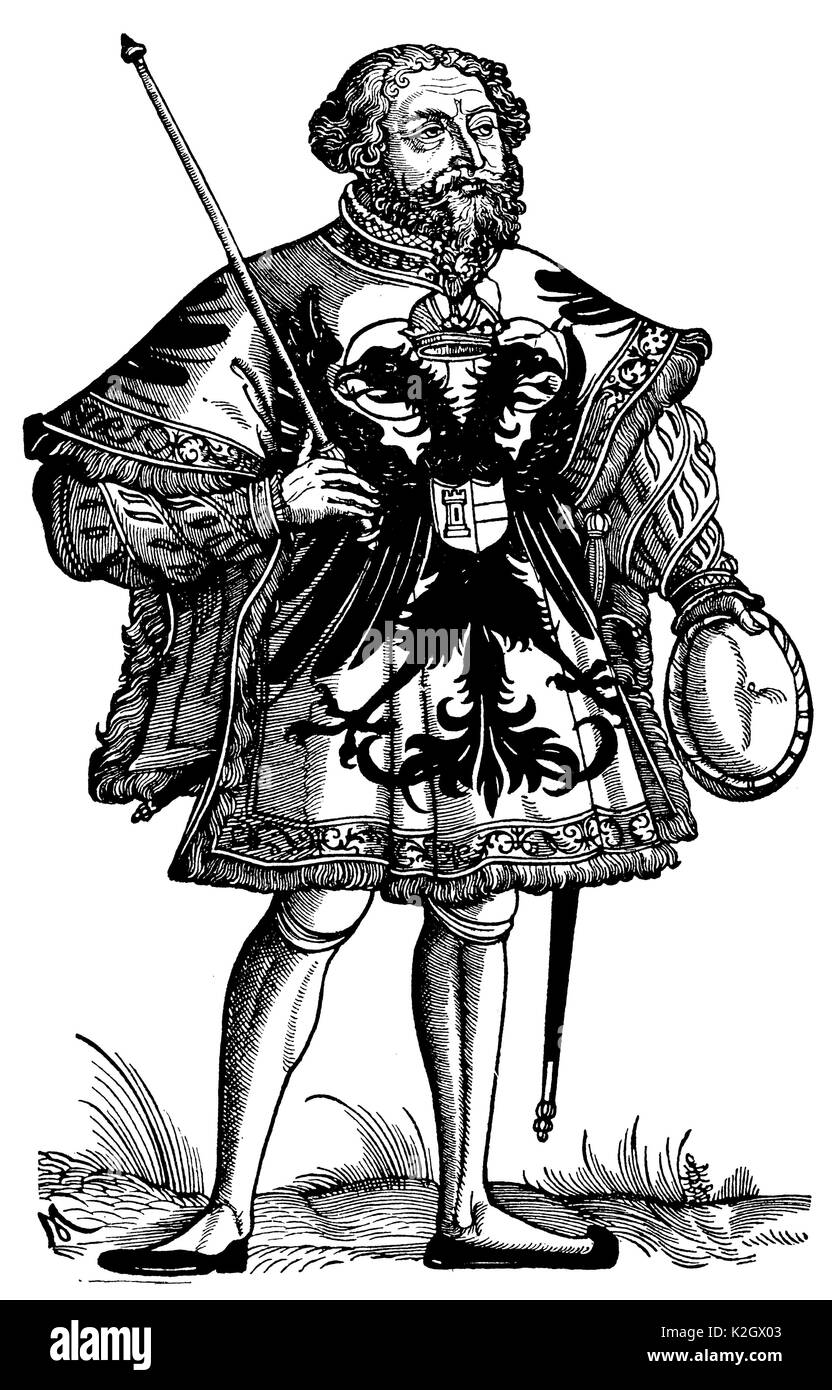 Imperial German herald. Facsimile of the woodcut by Michael Ostendorfer (First half of the 16th century) - Stock Image