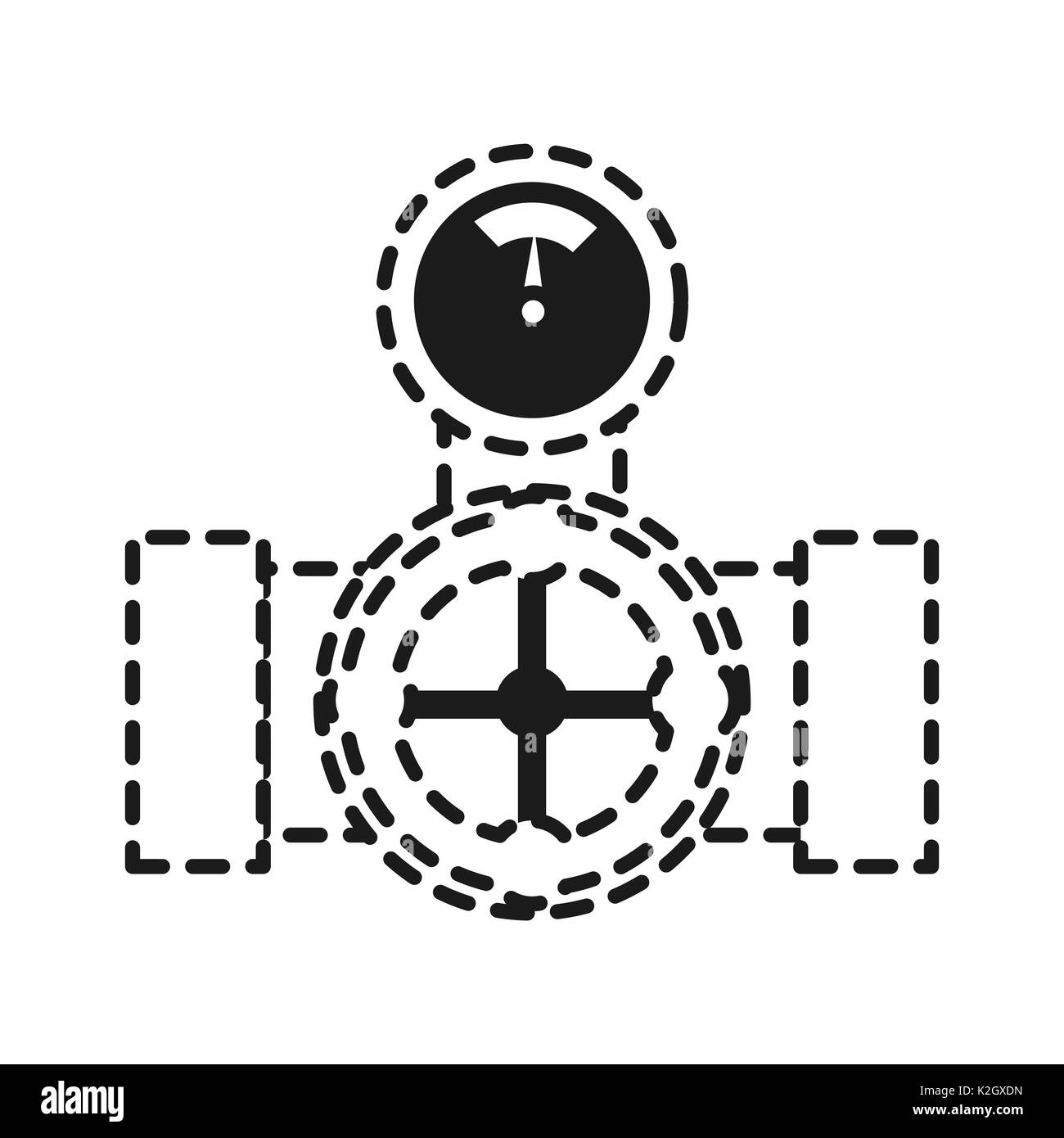 pipe with water meter icon over white background vector illustration - Stock Image