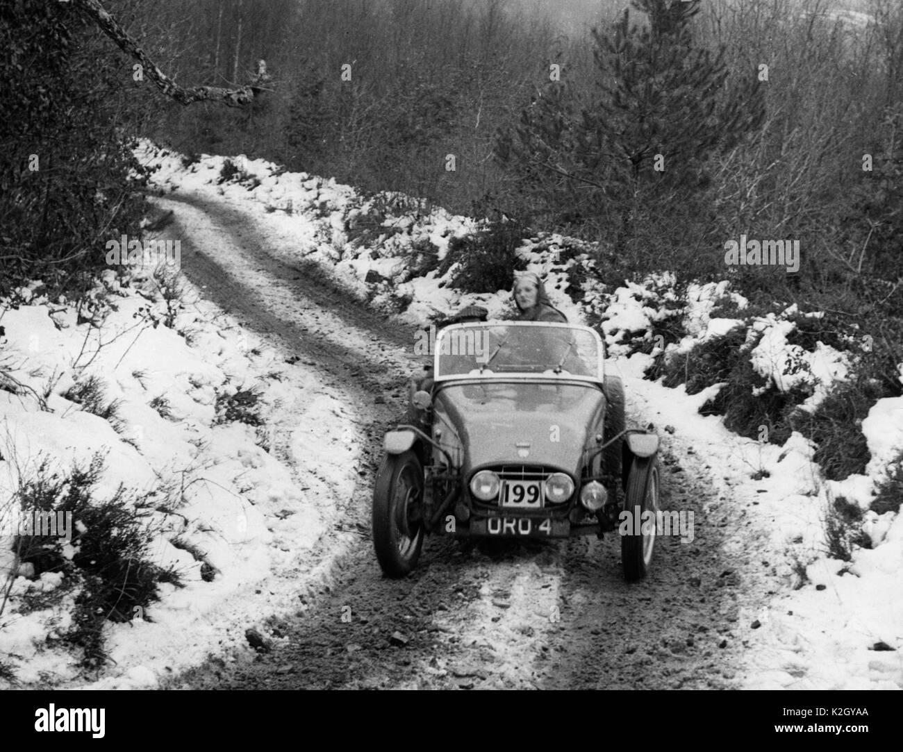 1953 MG Tucker- Peake special. 1953 Exeter trial, Fingle Bridge. - Stock Image