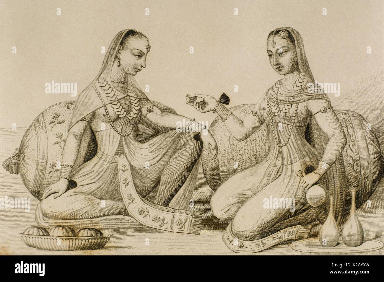 Women of Hindustan. Engraving.'PanoramaUniversal, India', 1845. - Stock Image