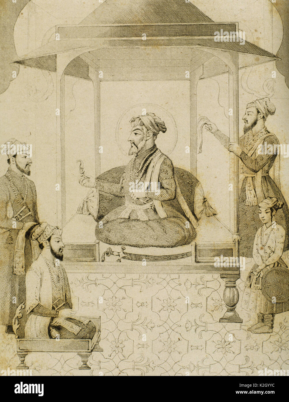 Shah Jahan I (1592-1666). Fifth Mughal Emperador who reigned from 1628-1658. He commissioned many monuments, the best known of which is the Taj Mahal in Agra, which entombs his wife Mumtaz Mahal. Sha Djahan giving a seat to Dara Shikoh (1615-1659), his eldest son. India. Engraving by Vernier. Lemaitre direxit. 'Panorama Universal, India', 1845. - Stock Image