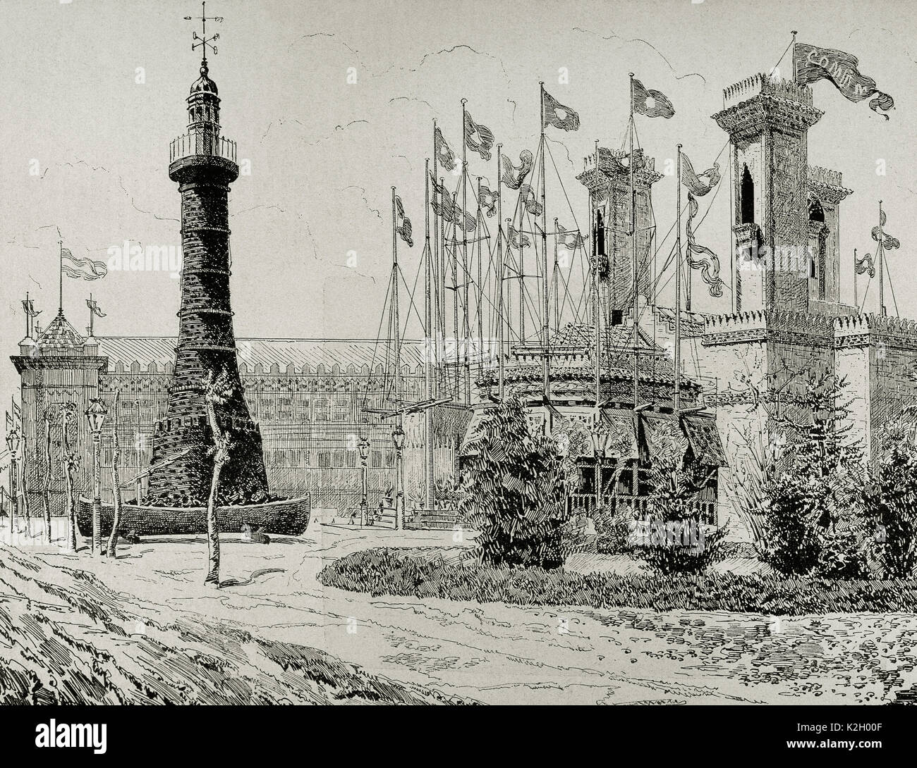 Spain. Catalonia. 1888 Barcelona Universal Exposition. Gallery of maritime installations: stone charcoal lighthouse and the pavilion of 'La Trasatlantica' Company. Engraving. 'La Ilustracion Iberica', 1888. - Stock Image