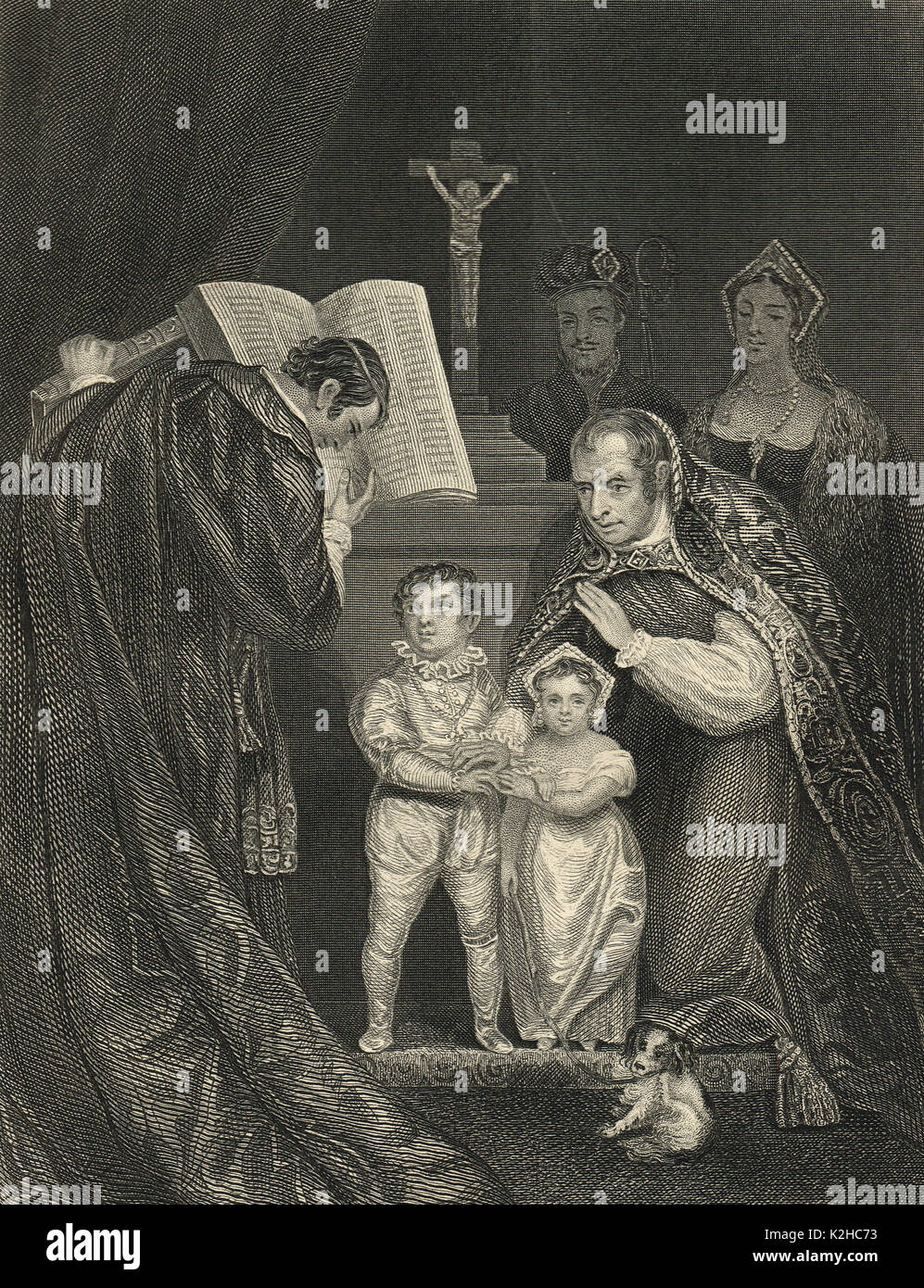 Marriage of the 4 year old Richard duke of York to 5 year-old bride, Anne de Mowbray, 8th Countess of Norfolk, 15 January 1478 in St Stephen's Chapel, Westminster - Stock Image