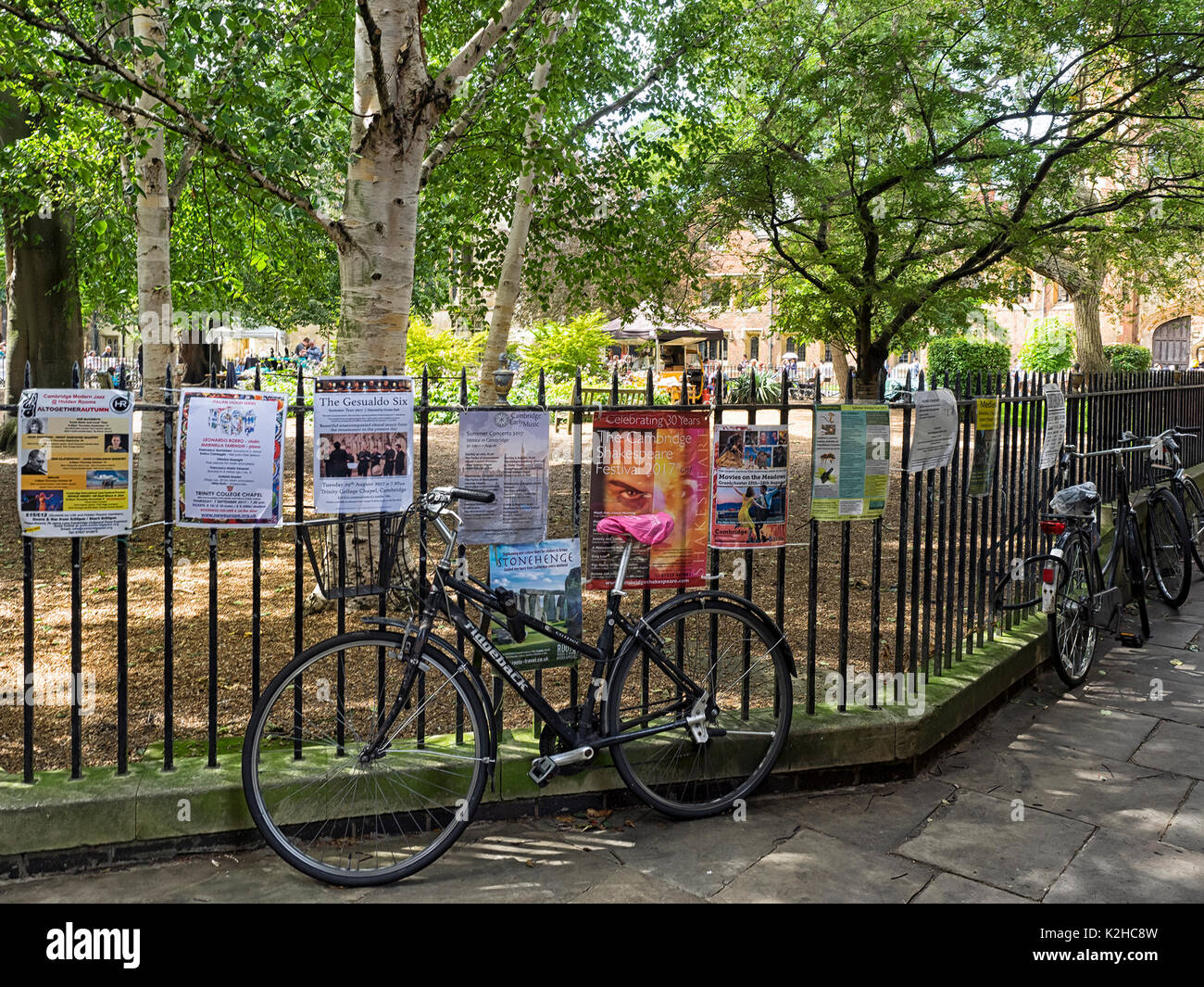 CAMBRIDGE, UK:  Bikes chained to the railing around All Saints Garden - Stock Image