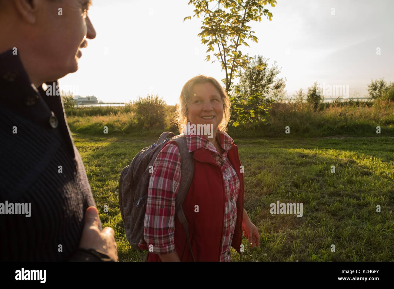 Happy caucasian elderly seniors couple in park - Stock Image