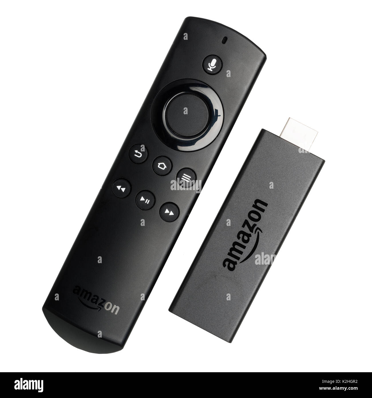 An Amazon fire tv stick  on a white background - Stock Image