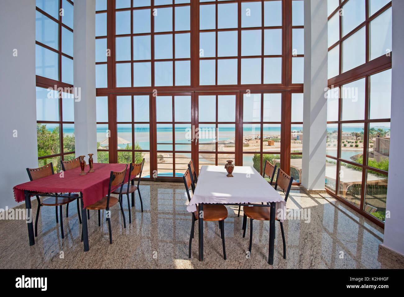 Dining area in luxury villa show home showing interior design decor ...