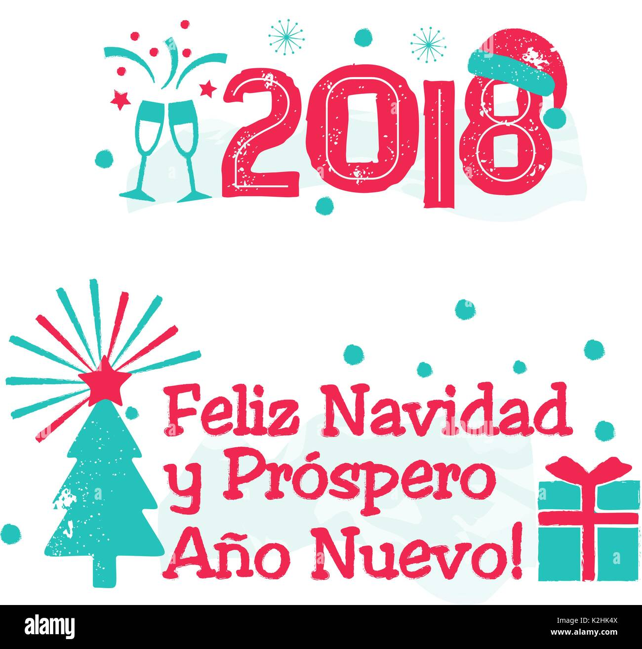 feliz navidad merry christmas spanish language stock image