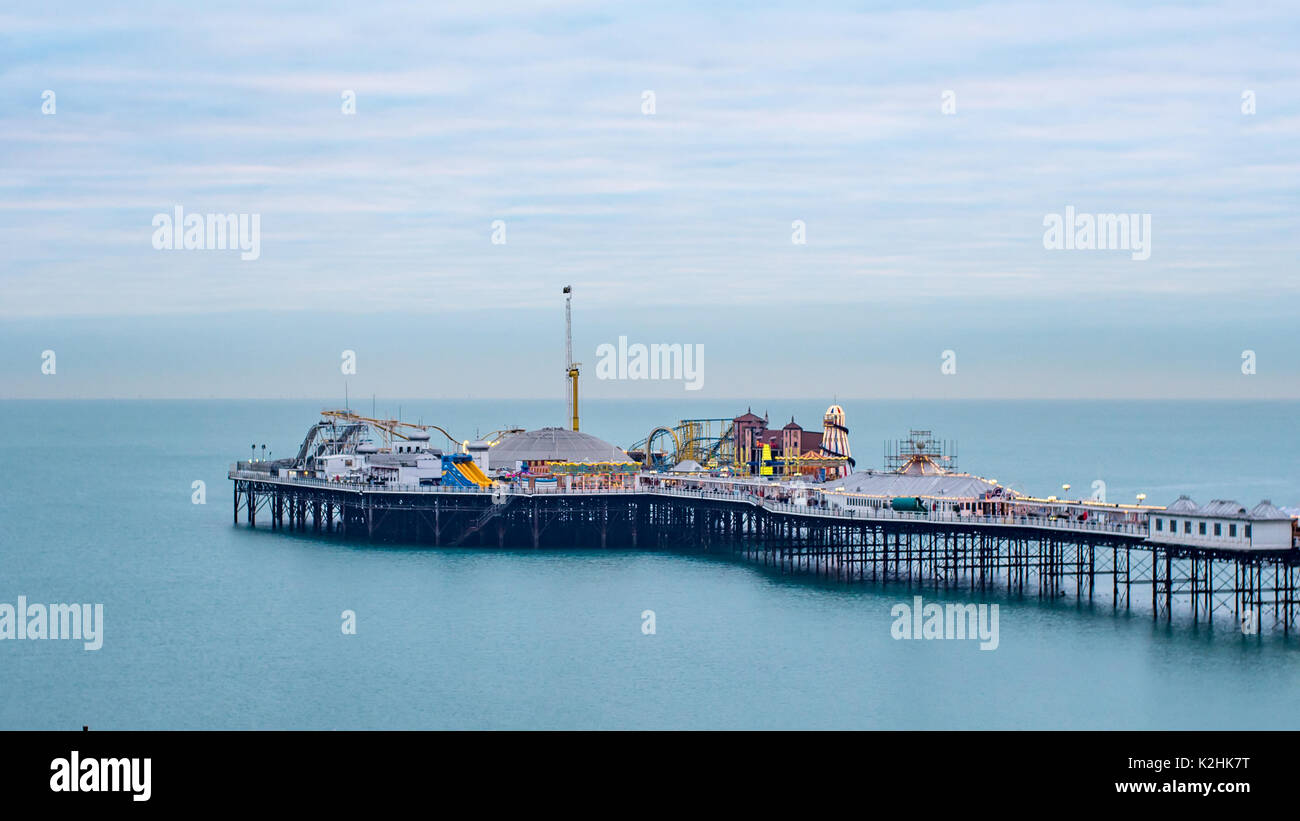 View of a sunset on the pier in Brighton - Stock Image