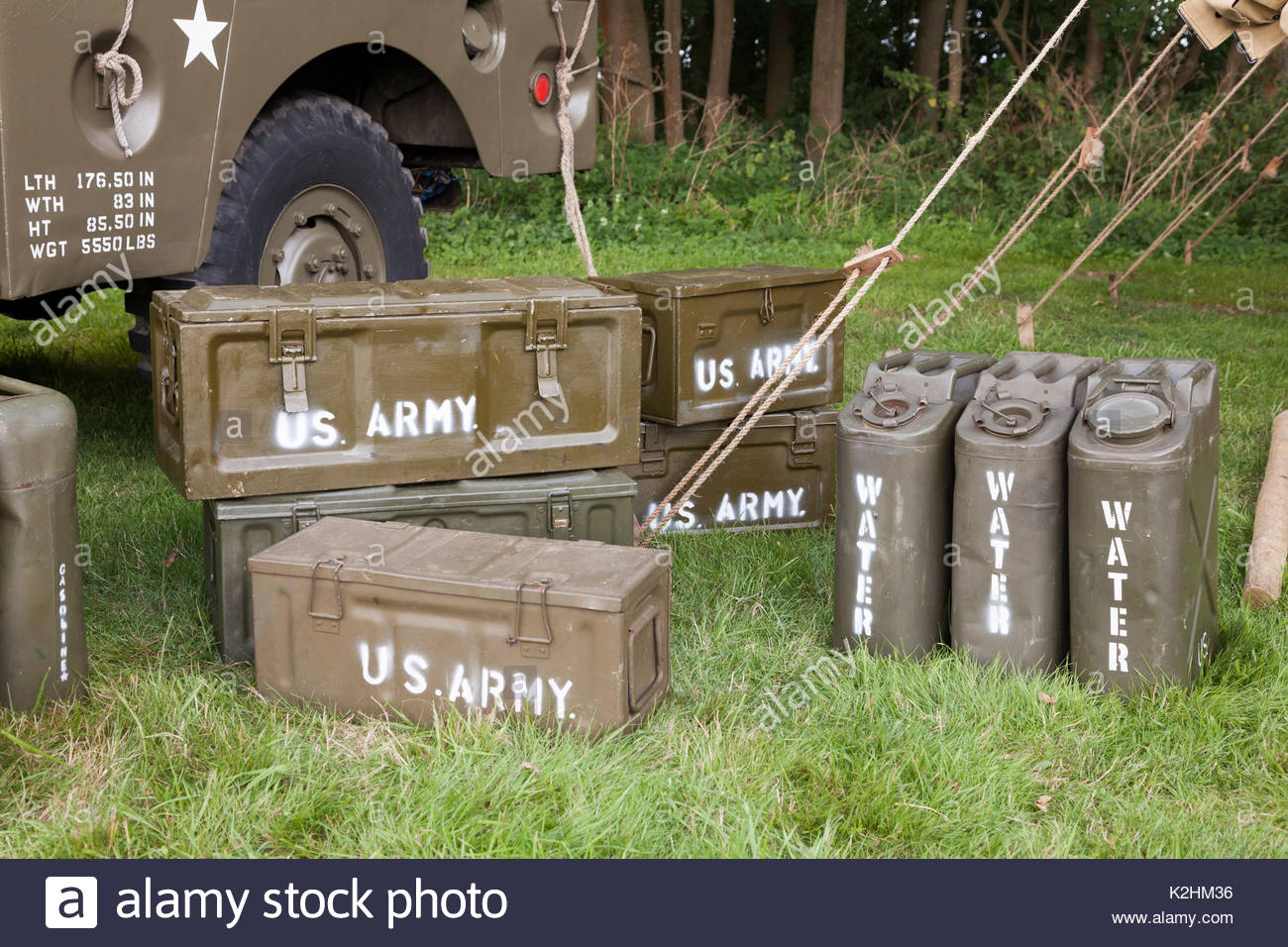 World War Two Re-enactment - Containers of army supplies - Stock Image