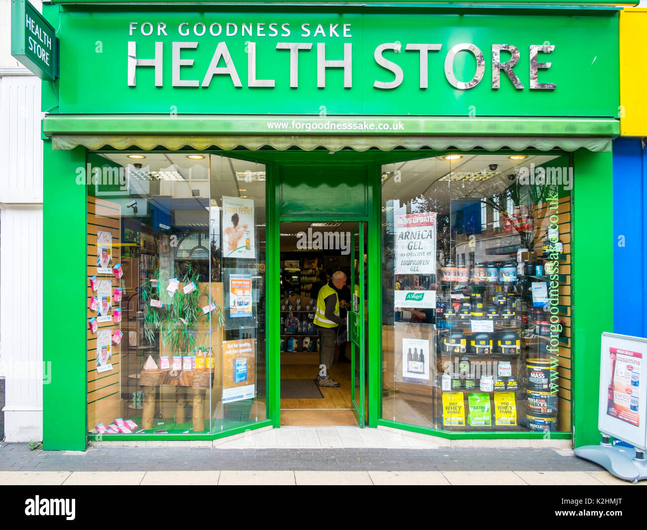 For Goodness Sake Health Shop displaying a variety of patent medicines and food supplements - Stock Image