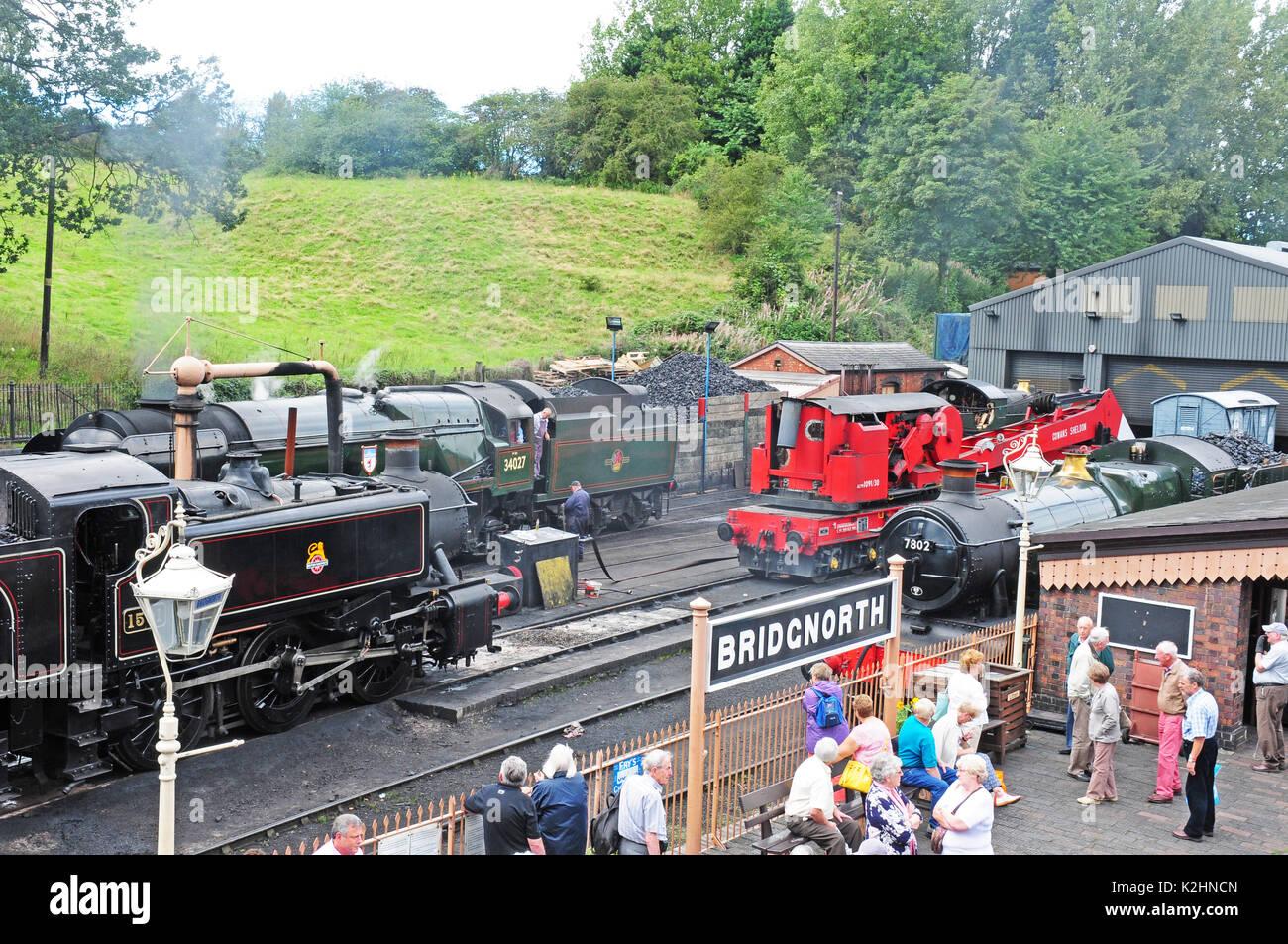 Locomotives at Bridgenorth. Severn Valley Railway. Stock Photo