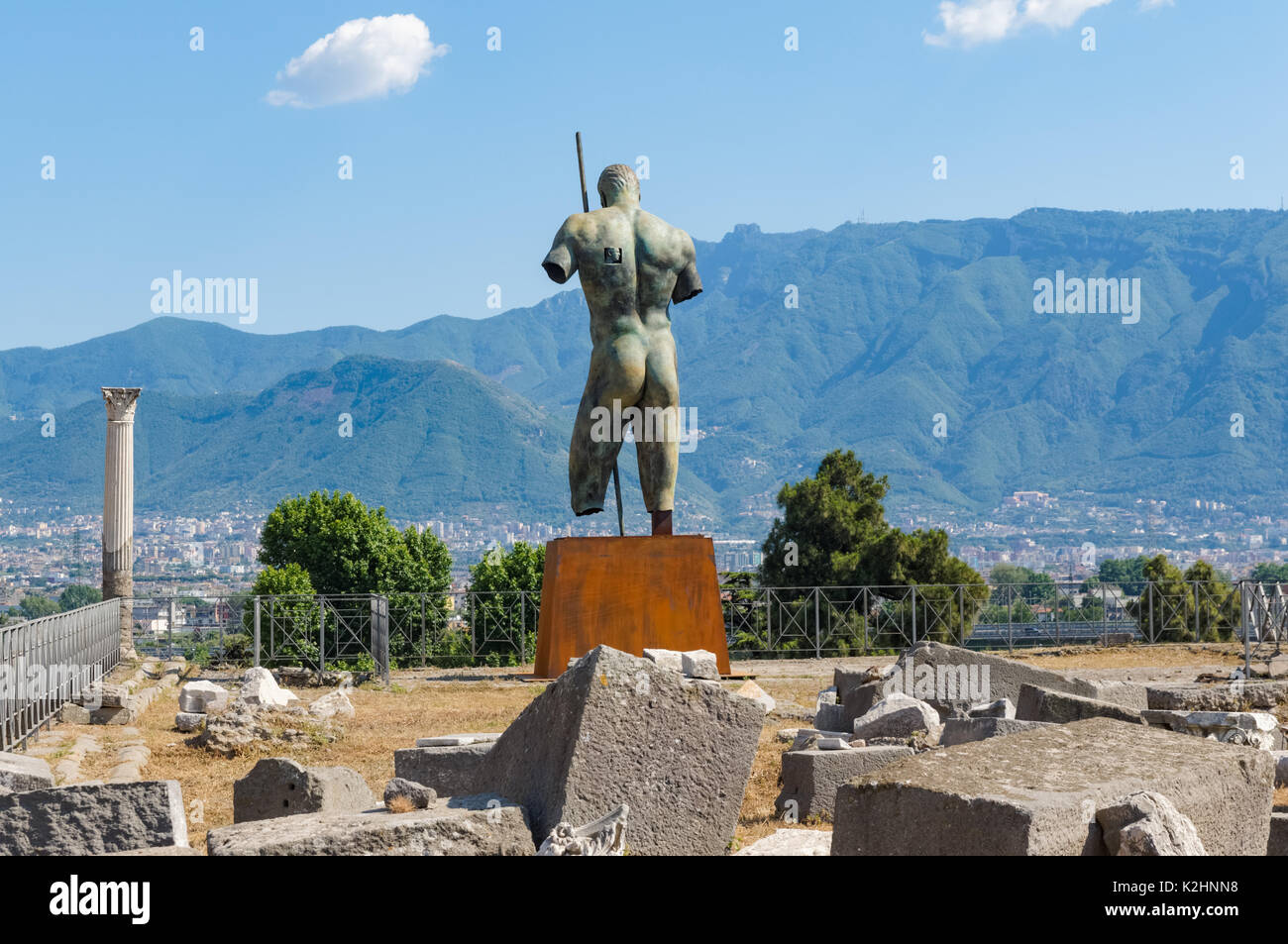 Igor Mitoraj bronze sculpture at the Roman ruins of Pompeii, Italy Stock Photo