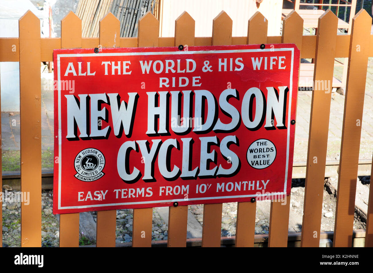 Preserved metal advertisement, seen the Severn Valley Railway, Shropshire. - Stock Image
