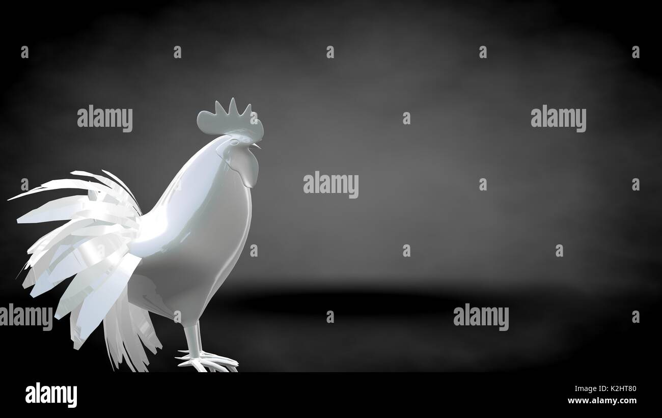 3d rendering of a reflective rooster on a dark black background Stock Photo