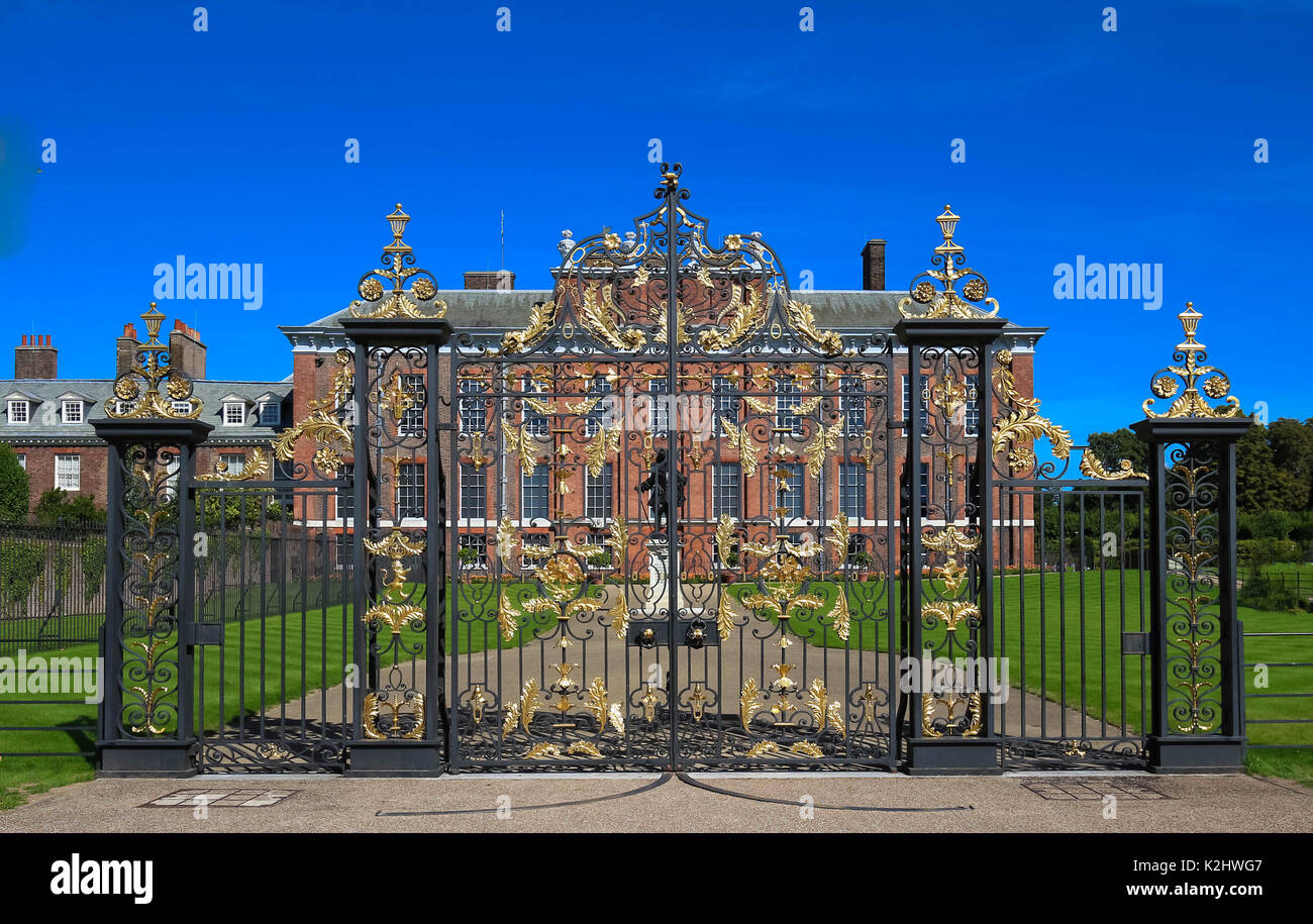 The gates of Kensington Palace in Hyde Park in London, England - Stock Image