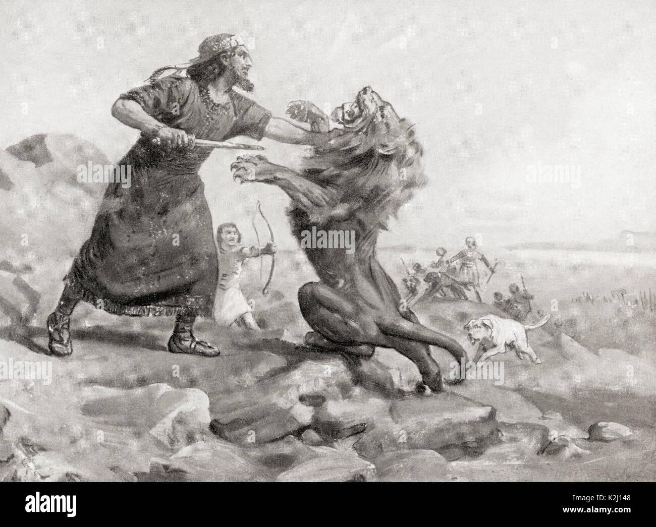 Tiglath-Pileser slaying a lion.  Tiglath-Pileser I, king of Assyria during the Middle Assyrian period (1114–1076 Stock Photo