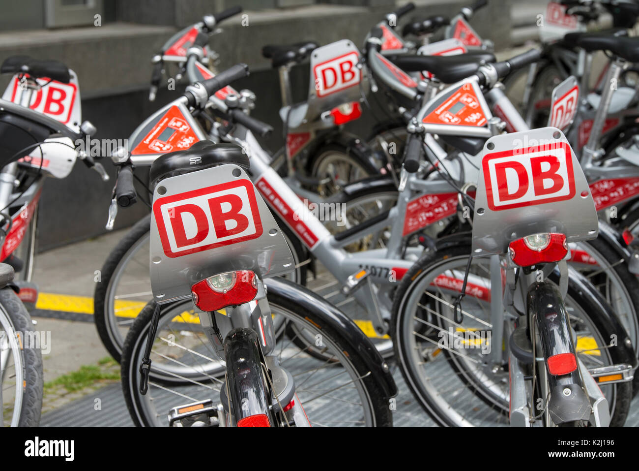 Bicycles from Call a Bike of Deutsche Bahn Stock Photo