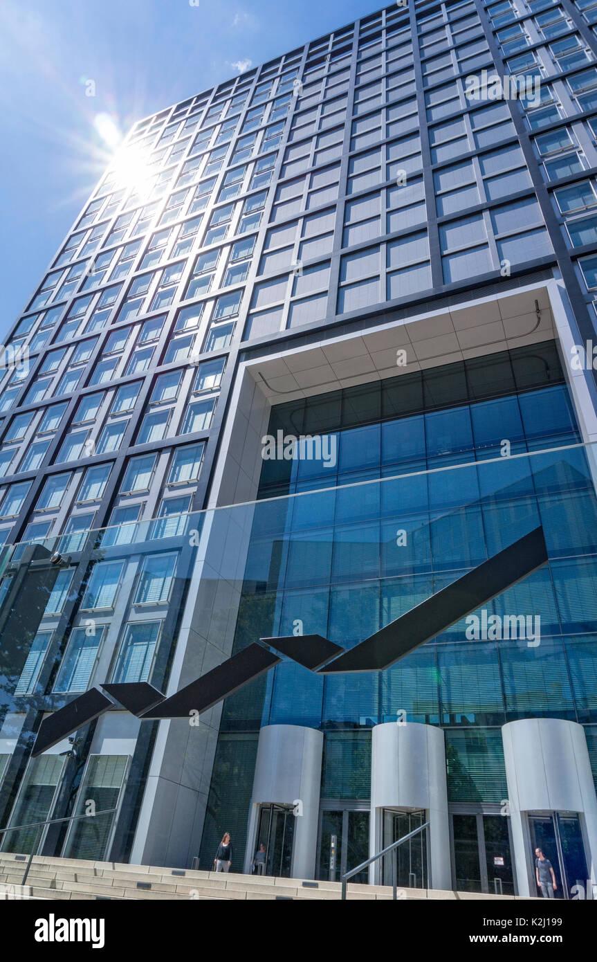 Office building 'The Cube' of Deutsche Börse in Eschborn near Frankfurt - Stock Image