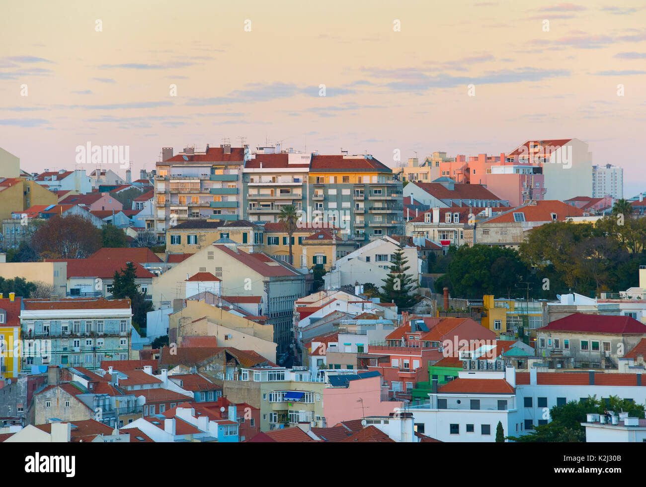 Twilight view of Old Town architecture of Lisbon. Portugal - Stock Image