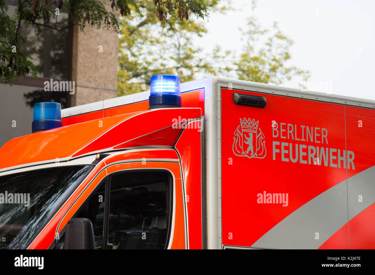 Bluelight, Berliner Feuerwehr, emergency, 21.08.2017 , Foto: Uwe Koch/fotobasis.de Stock Photo