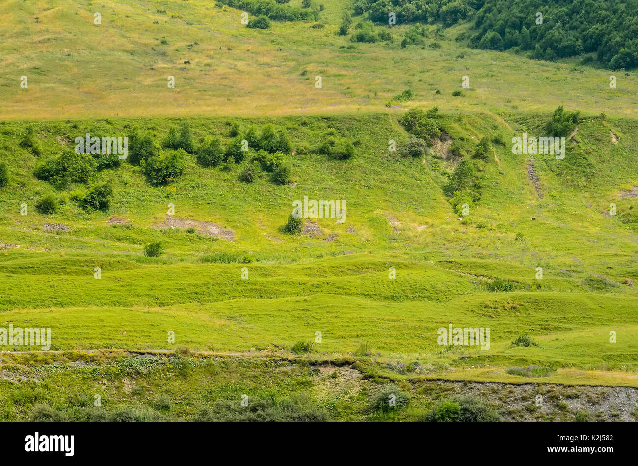 Beautiful hillside in Ossetian mountains - Stock Image