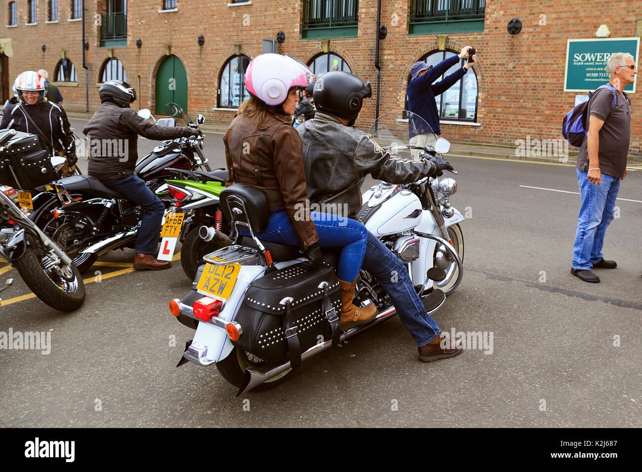 Harley Divison bikes at Wells next the Sea Carnival Norfolk - Stock Image