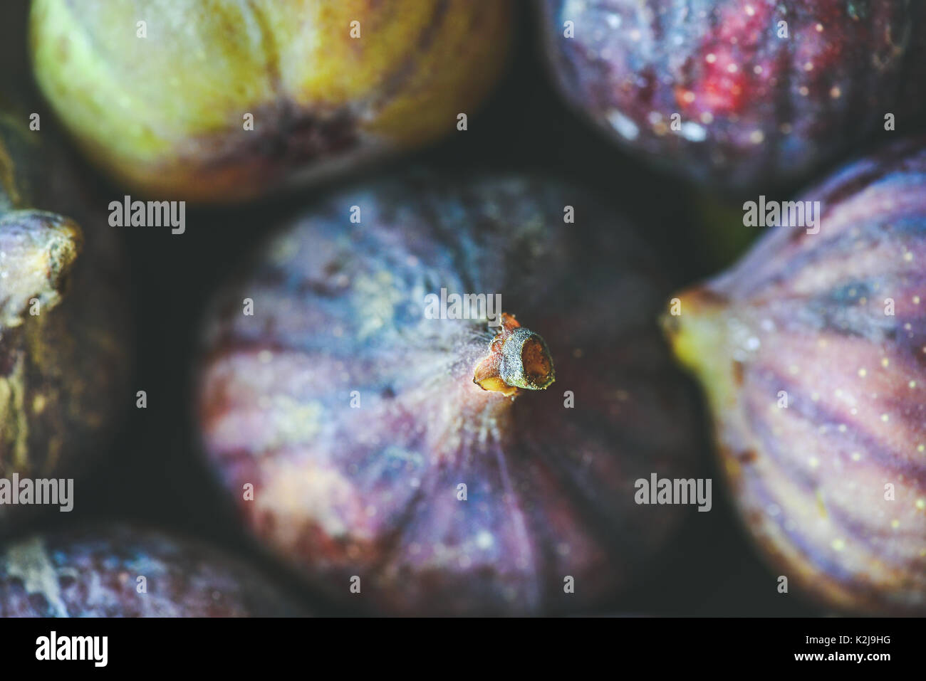 Close-up of fresh ripe purple figs, top view, horizontal composition. Food texture and background. Organic fruit, local produce, farming, healthy food - Stock Image