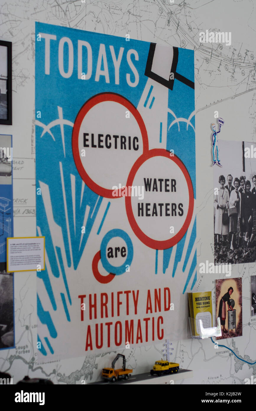 Old fashioned advertisement signs for electricity in Ireland in the 1930s - Stock Image