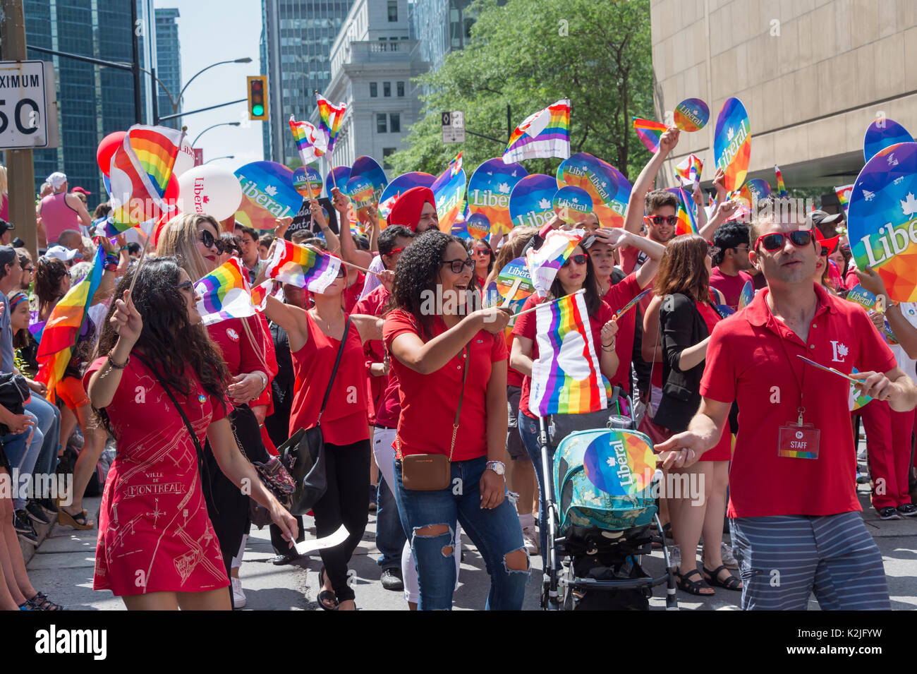 Montreal, Canada - 20 August 2017: Members of Canadian Liberal Party take part in Montreal Gay Pride Parade - Stock Image