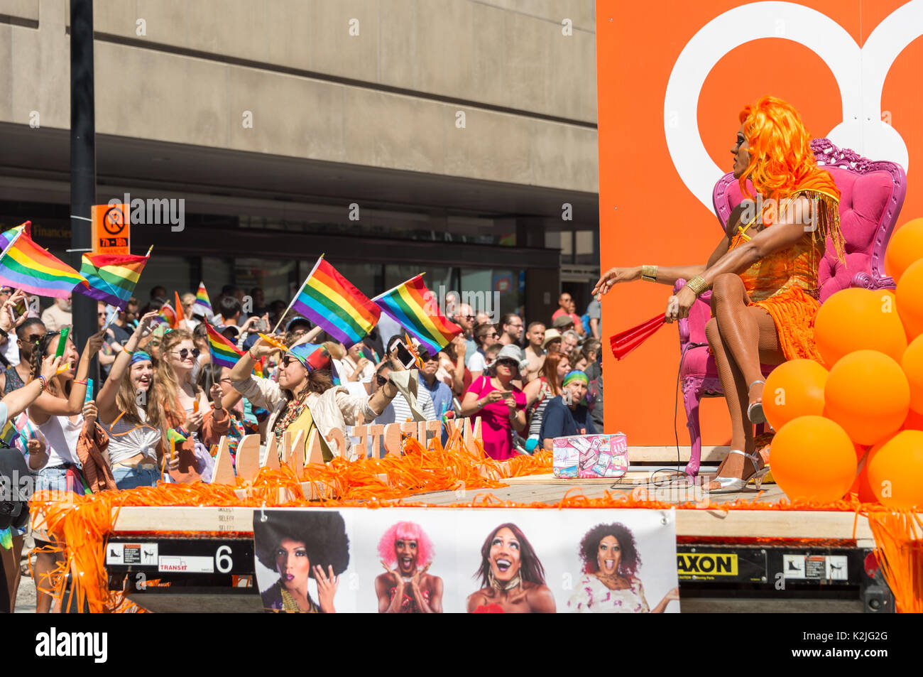 Montreal, 20 August 2017: Drag queen taking part in Montreal Gay Pride Parade - Stock Image