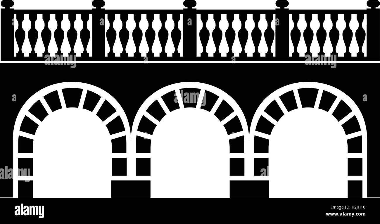 Arch bridge icon, simple black style - Stock Image