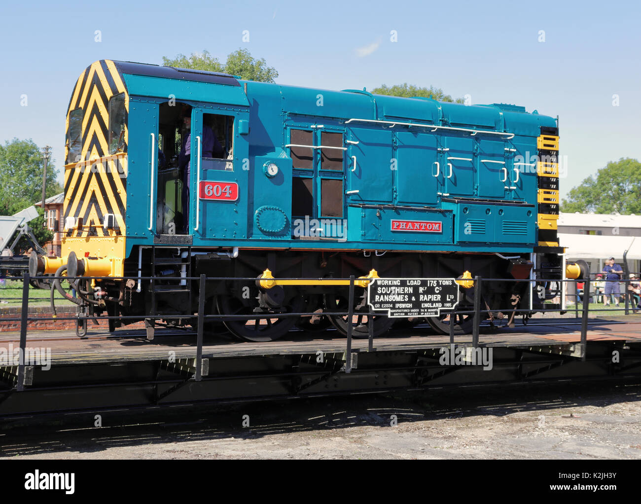 Diesel Locomotive on a turntable at Didcot Railway centre in England - Stock Image