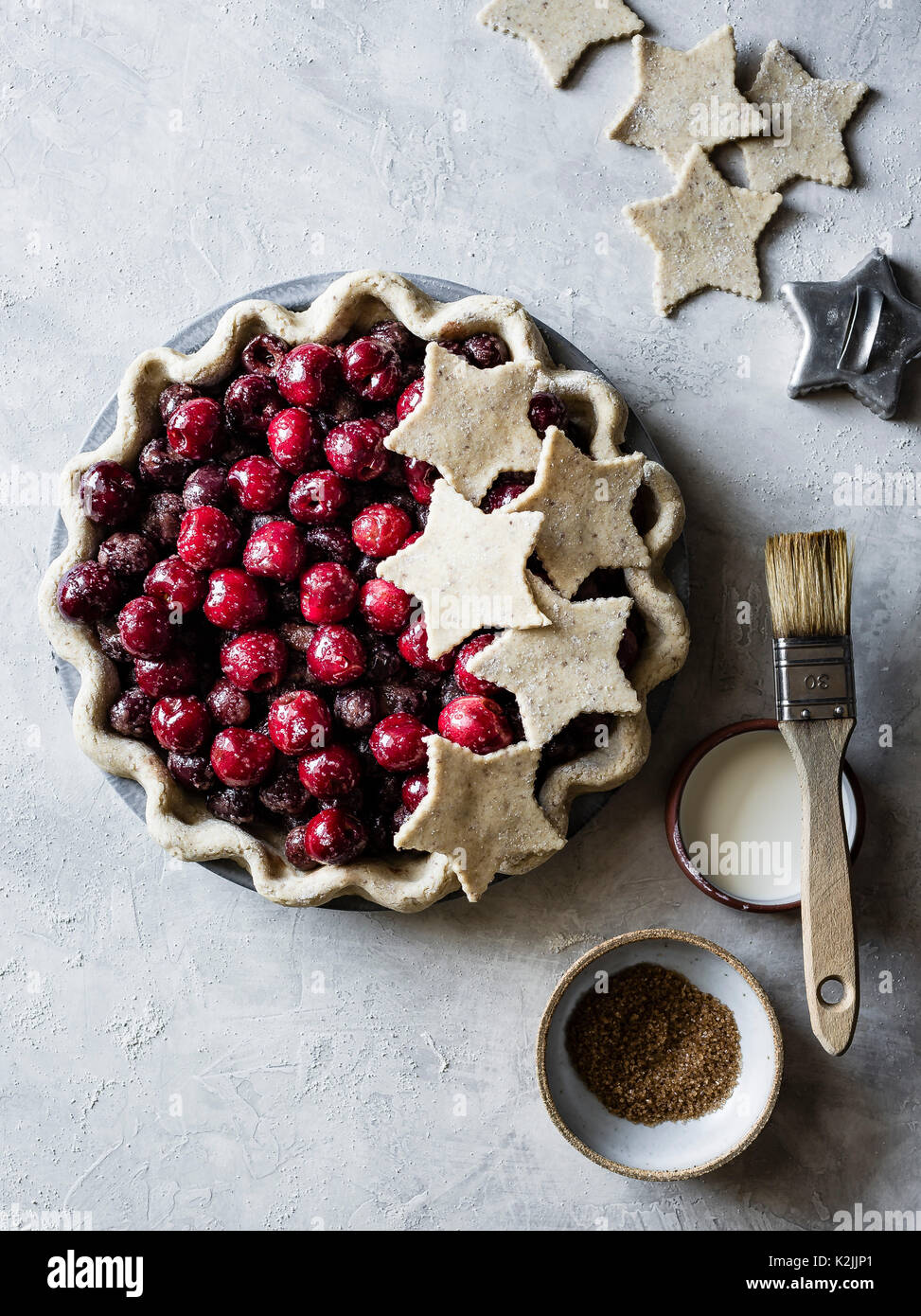 A cherry pie, with fresh cherries. Home made. - Stock Image