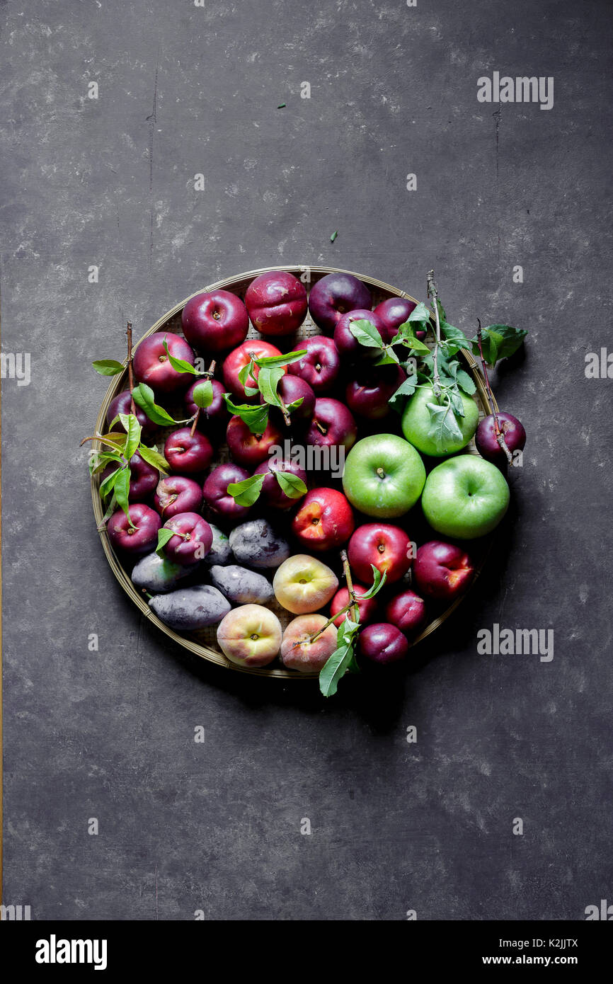 Summer Fruits against a dark background - Stock Image