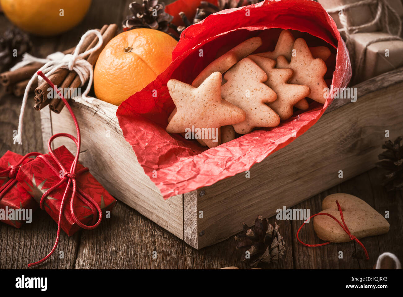 Wooden Box With Homemade Christmas Cookies Oranges And Xmas Gifts