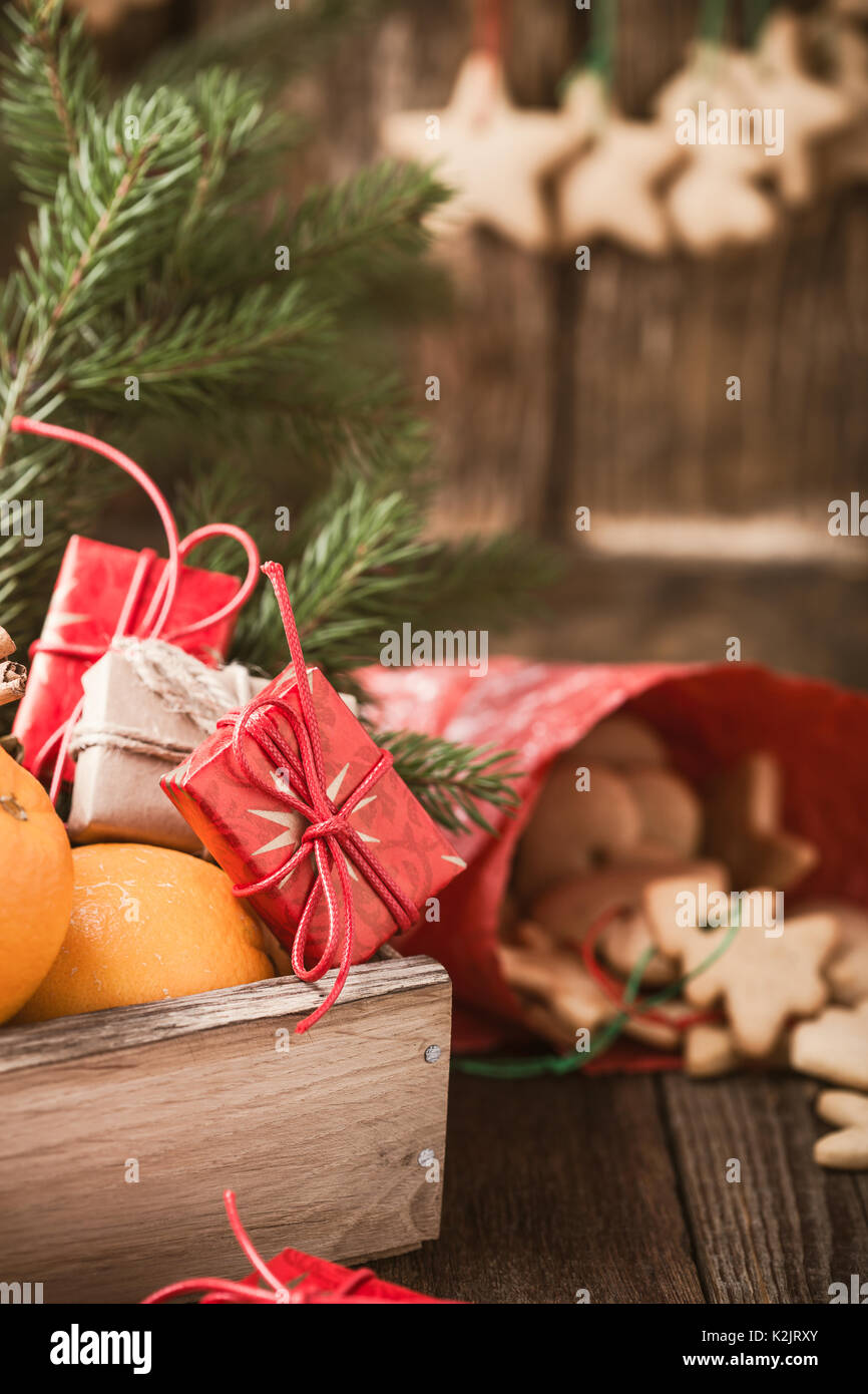 Wooden Box With Christmas Fruits And Gifts Homemade Xmas Cookies On