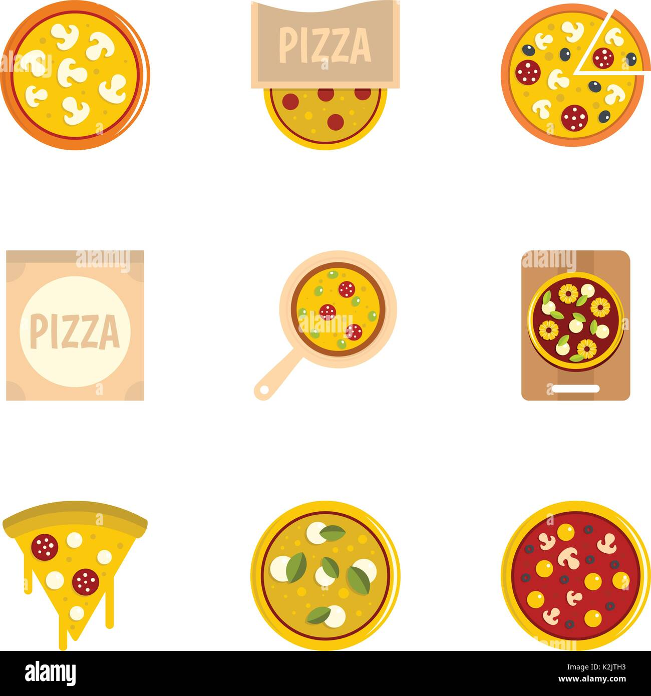 Delicious pizza icons set, flat style Stock Vector