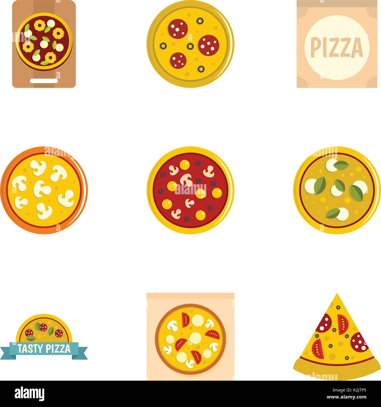 Pizza icons set, flat style Stock Vector