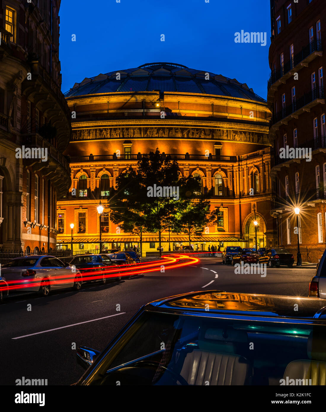 Lights around the Royal Albert Hall at dusk, London, UK - Stock Image