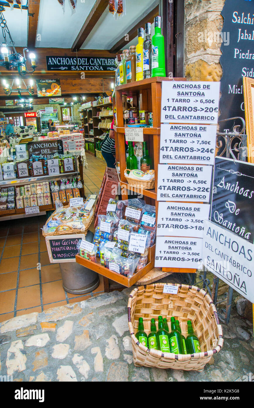 Typical products in a grocery shop. Santillana del Mar, Cantabria, Spain. Stock Photo