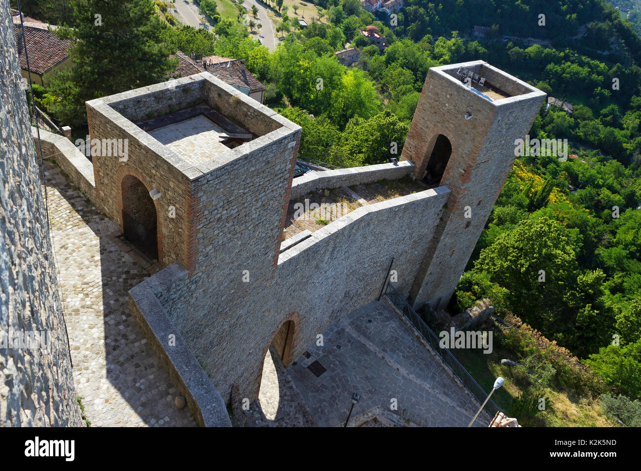 RIMINI, ITALY - JUNE 2012; Entrance of Montefiore Conca castle. - Stock Image