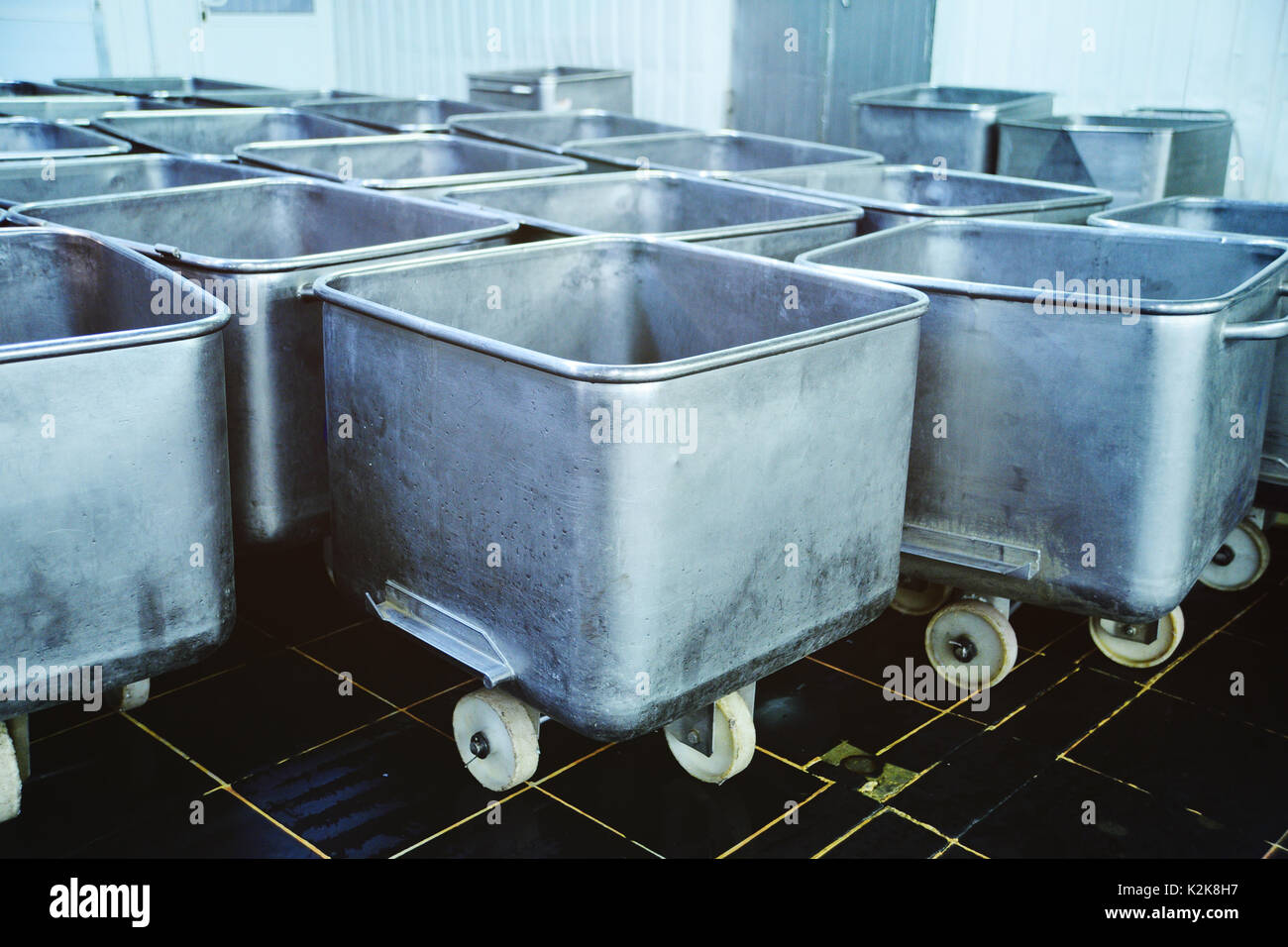 trolley for food at the meat factory - Stock Image