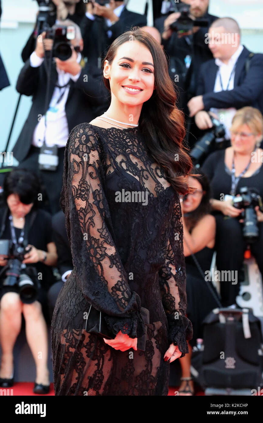 Venice, Italy. 30th Aug, 2017. VENICE, ITALY - AUGUST 30: Desiree Noferini walks the red carpet ahead of the 'Downsizing' screening and Opening Ceremony during the 74th Venice Film Festival at Sala Grande on August 30, 2017 in Venice, Italy. Credit: Graziano Quaglia/Alamy Live News - Stock Image
